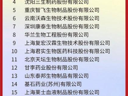 """沃森生物入围""""中国生物医药企业TOP20"""""""
